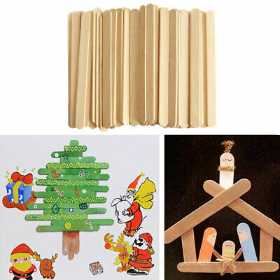 50X Wooden Ice-lolly Stick Party Popsicle Kids Crafts Ice Lolly Cake Pops Making