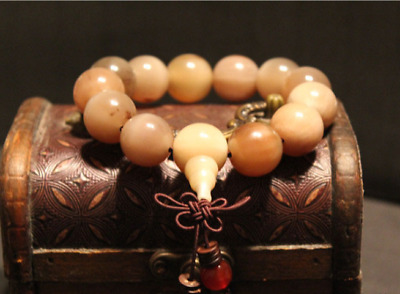 Chinese Vintage Natural Yak Horn Hand Grinding Buddha Beads Hand Chain Bracelet5