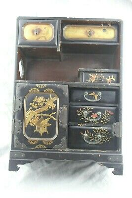 """15"""" Tall Antique or Vintage Japanese SIGNED Black Lacquer Jewellery Cabinet AF"""