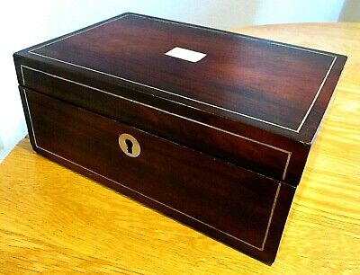 Victorian Rosewood Sewing/Jewellery Box,M.o.p.red Lined Interior,Pewter String'g