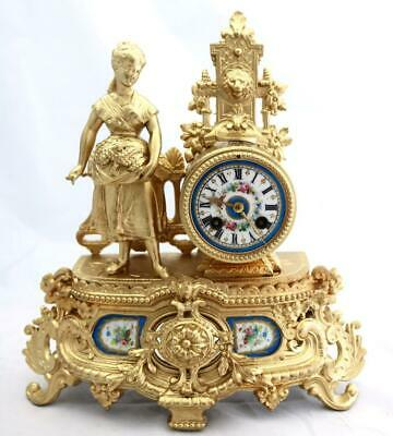 Antique Mantle Clock French Stunning blue Sevres & Gilt 1870's Figural Striking