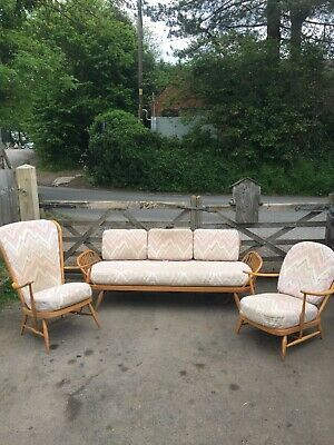 Ercol 3 Piece Suite Vintage Daybed And Chairs