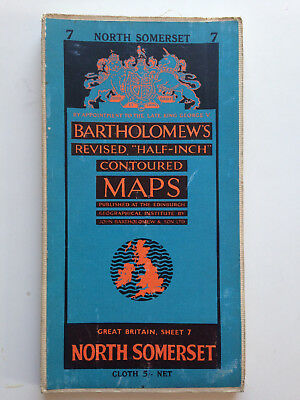 Vintage 1940's Bartholomews map of North Somerset
