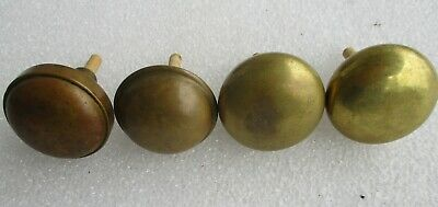 "LOT of 4 ANTIQUE BRASS DOOR KNOBS COAT HAT RACK HOOKS  2 1/4"" diameter"