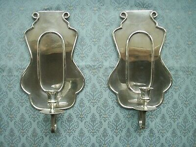 Old 2x Silver Plated Wall Candle Holder Sconces Candlesticks Georgian Style Pair