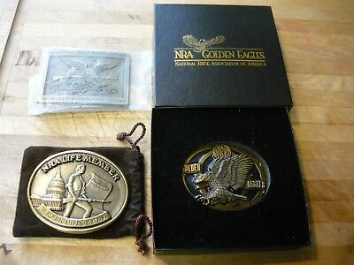 Vintage NRA Belt Buckles Life Member Golden Eagles America Founded By Gun Owners