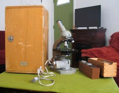Olympus Elgeet Microscope with Light Source, Case & 3 Objectives, Cases Japan