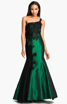 6a1a83c6f71c Alberto Makali Embellished One Shoulder Taffeta Trumpet Gown (Size 6)