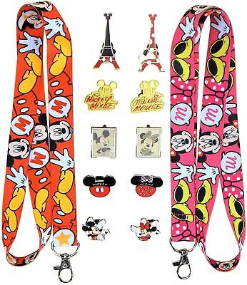 Mickey and Minnie Couples Lanyard Set with 10 Disney Trading Pins - Brand NEW