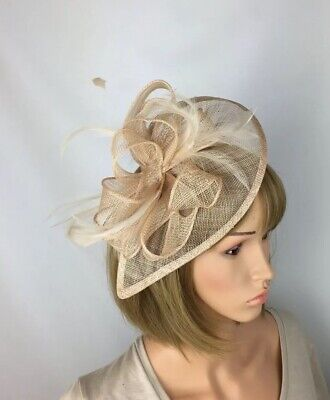 Fawn Beige Gold Nude Fascinator Wedding Hatinator Mother Of The Bride Ascot
