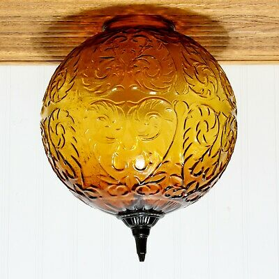 BIG Vintage Replacement Swag Or Light Fixture Globe Shade Embossed Amber Glass