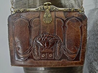 Ornate Antique Arts & Crafts Leather Purse W/ Turn Lock & Shoulder Chain & Beads