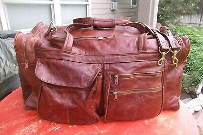 "xLARGE OXBLOOD BROWN LEATHER DUFFLE BAG 25"" X 12"" X 11"" SPACIOUS"