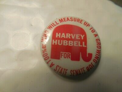 Connecticut Pin Back Local Campaign Button Harvey Hubbell State Senate Elephant