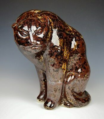 Fierce Antique Japanese Mino Ware Tiger Seto Pottery Okimono Statue Meiji Cat