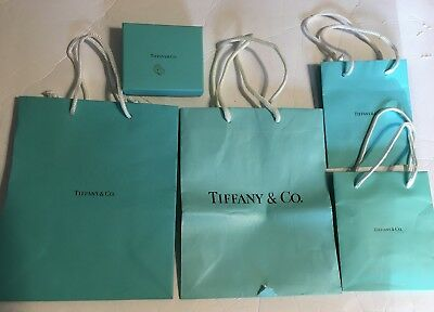7af18565ea Lot Of 4 Tiffany & Co EMPTY Gift Bags 1 Box Signature Blue With Handles