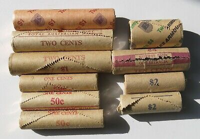 Group of Royal Australian Mint 1980-89 QEII Decimal Coin Mint Rolls