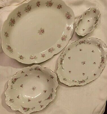 Stunning 4pc Lot Thomas Bavaria Fancy Serving Dishes Pink Roses & Vines w/ Gold