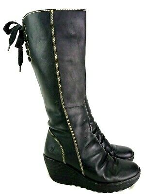 cb1e41586b7 FLY LONDON MES 2 Black Leather Mid Calf Wedge Boots Side Zip Women's ...