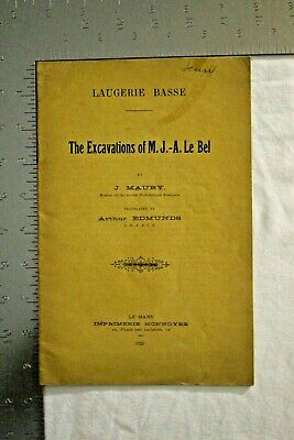 Rare 1925 Booklet The Excavations Of M J A Le Bel By J. Maury Ancient Artifact