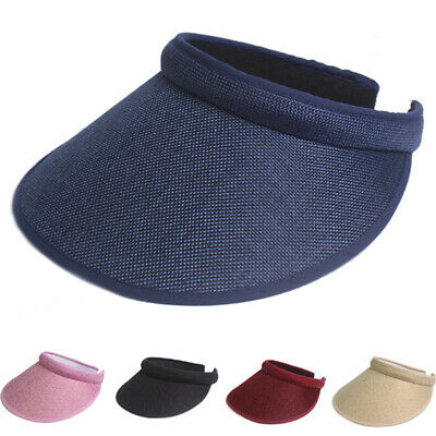 Women Men Plain Visor Outdoor Sun Cap Sport Golf Tennis Beach Hat Adjustable XD