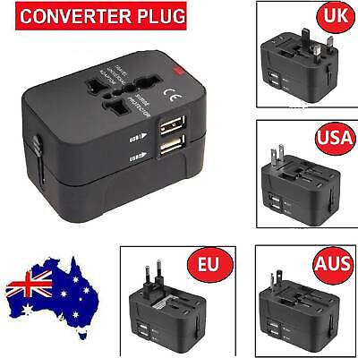 Universal International Travel Adapter 2 USB Power Plug Charger Converter Socket