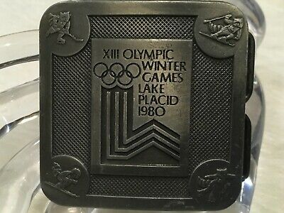 Vintage Xiii Olympic Belt Buckle 1980 Winter Games Lake Placid