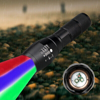 A100 Tactical Flashlight Red Green Blue LED Hunting Light Torch 18650 Charger