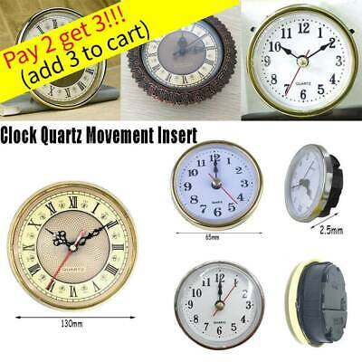 65mm/190mm Quartz Clock Movement Insert Roman Numeral White Face Gold Trim Mute