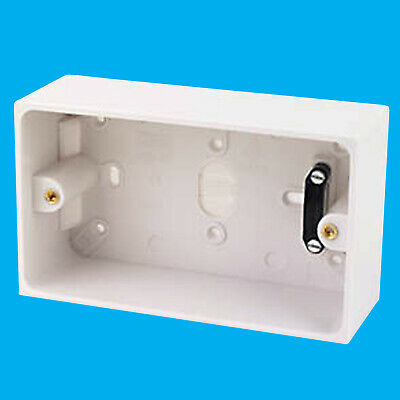 2-Gang Surface Mounted 45mm Depth Pattress Back Box Cable Clamp & Brass Terminal