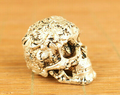 Cool rare Chinese old white copper hand casting skull figure home decoration