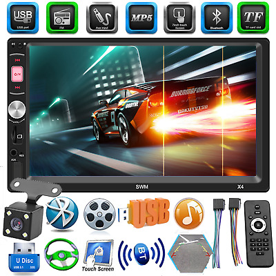 2Din 7in Coche Estéreo MP5 Radio Fm Reproductor BT 4.0 USB Aux Vista Trasera u