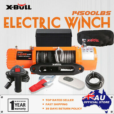 Electric Winch 14500LB IP67 X-BULL 26M Synthetic Rope 12V 6577kg 2x Remote 4WD
