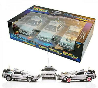Back to the Future - 1:24 Trilogy Gift DeLorean Part #1 #2 #3 Cars Replica Set