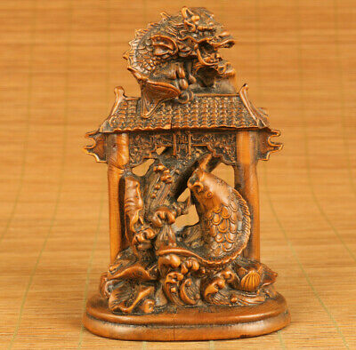Asian Antique old boxwood hand carving fish dragon statue figue decoration gift