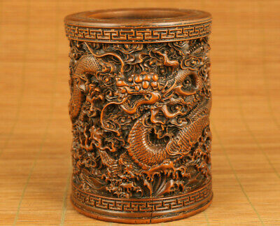 Chinese antique old boxwood dragon statue netsuke brush pot noble gift decorate