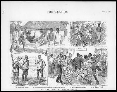 1886 Antique Print  -  WEST AFRICA Sierra Leone Military Officers Masher  (132)