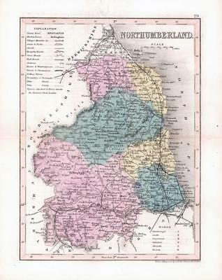 """1860 - Original antique colour map of """"NORTHUMBERLAND"""" by Joshua Archer (27)"""