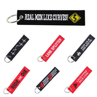 Follow Me Pull To Eject Embroidery Tag Car Keychain Key Ring Holder Penadant 1Pc