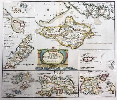 1695 Antique Map of CHANNEL SMALLER ISLANDS Robert Morden 1st Issue COLOUR