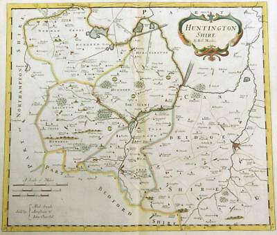 1695 Original Antique Map HUNTINGDONSHIRE by Robert Morden RARE 1st Issue COLOUR