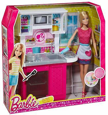 Barbie Doll With Kitchen Furniture Set Brand New Fast Postage