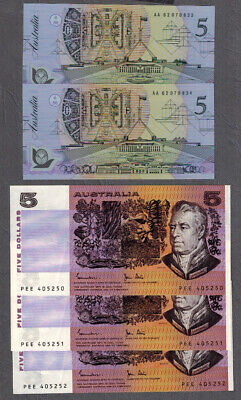 Australian 1983-92 Johnston/Stone-Fraser/Cole $5 Consecutive Paper/Polymer Notes