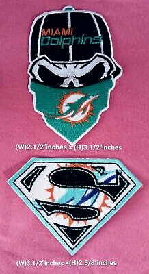 detailed look 7c67c bfb76 Miami Dolphins NFL Sport2pcs Pack patch sport Logo for iron and sewing on  Fabric