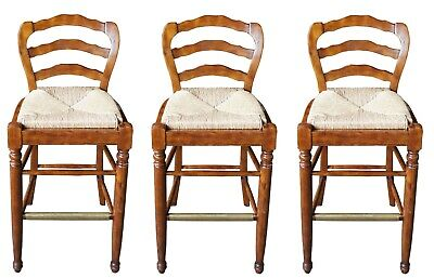 3 Touchstone Collections French Country Distressed Bar Height Stools Rush Seat