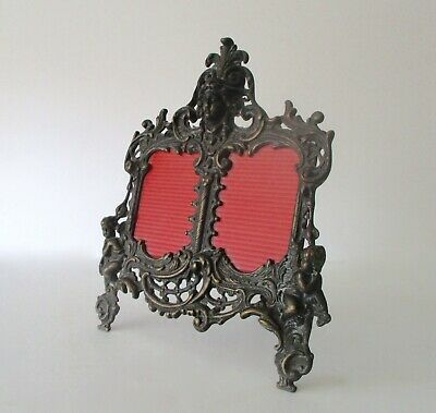 Antique Victorian Brass Double Frame