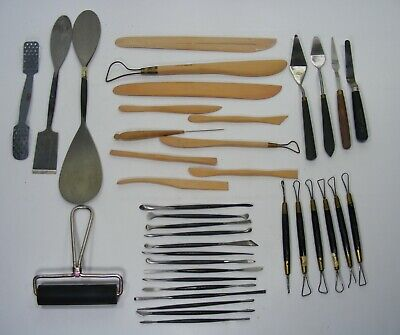 Vintage 38 Piece Lot of Tools for Clay Sculpting
