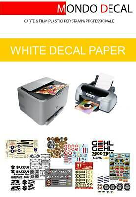 Carta Per Decalcomanie, Waterslide Decal White Paper: 6 Fogli A4 Fondo Bianco