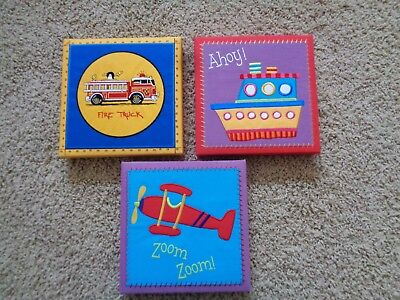 Lot of 3 Child's Fabric Covered Framed Wall Decor Fire Truck Zoom Zoom Ahoy