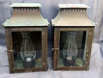 Pair of 2 Two Set Lamp Light Lamps Copper Coach Lantern Lights Sconces Vintage